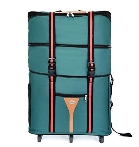 HFL wasserdichte, erweiterbare Reisetasche mit Rädern in Übergröße 60L,Grün