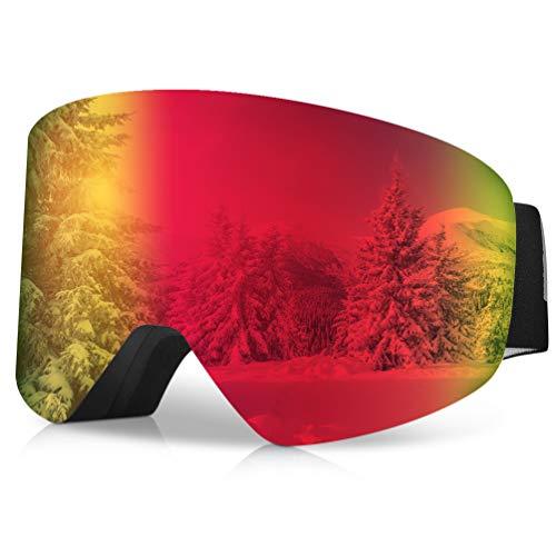 RUNACC Skibrille Herren Damen Tragen Sie Brille mit Anti Fogging Linse und 100% UV400-Schutz für Skifahren oder Skaten (Rot)