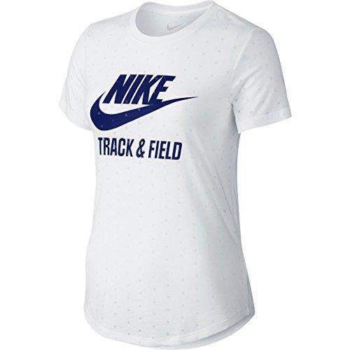 Nike Tee-ru W Run Burnout Damen T-Shirt S weiß/blau (weiß/Deep Royal Blue) (Nike Track Field Damen And)