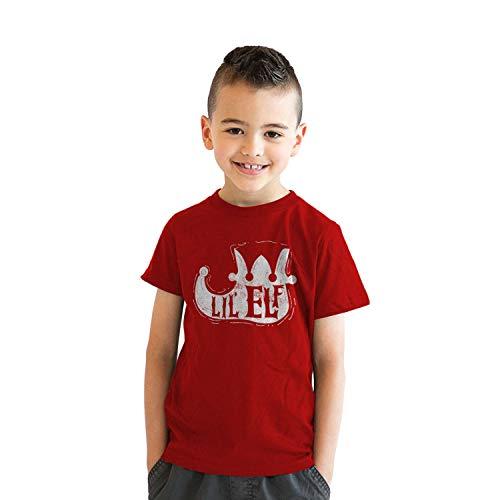 Crazy Dog Tshirts - Youth Lil Elf Shoe Tshirt Cute Christmas Santas Helper Tee for Kids (Red) - M - Jungen - M Santas Lil Elf