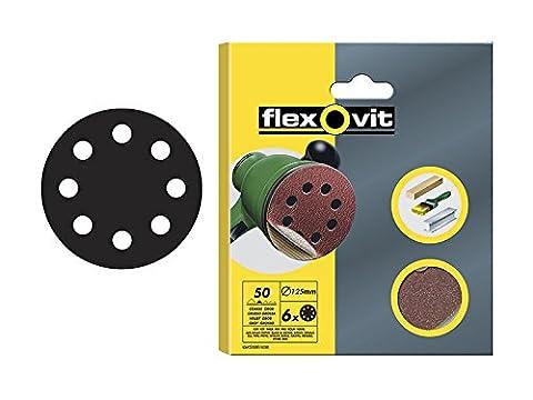 Flexovit Velcro Backed Sanding Discs 125mm - 8 Hole -