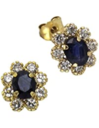 Ellen K. - 216320022 - Boucles d'Oreille Femme - Or Jaune 8 Cts 333/1000 - Saphir