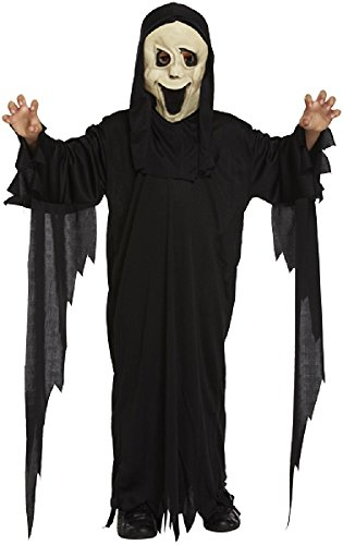 Jungen Scream Sensenmann Ghost Halloween Horror Kostüm Outfit 4-12 jahre - Schwarz, 7-9 Years (Scream Outfit)