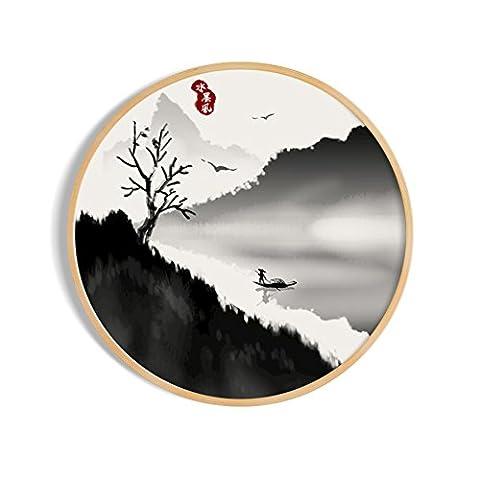 Peintures Décoratives/Peinture Abstraite Chinoise/Peinture De Paysage/Peint/Mural/Salon Triple Peinture-J 70x70cm(28x28inch)