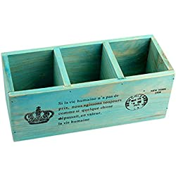 Cosanter 3 Compartimento Madera Escritorio Creativo Organizador de Papelería Soporte Diseño de Madera caja de Almacenamiento para Escritorio Bolígrafo/Stationery/Cell Phone/Maquillaje Azul vintage