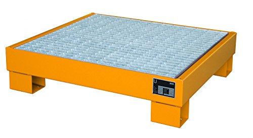 Auffangwanne lackiert mit Gitterrost, Lagerung von max. 4 x 60-l-Fässer