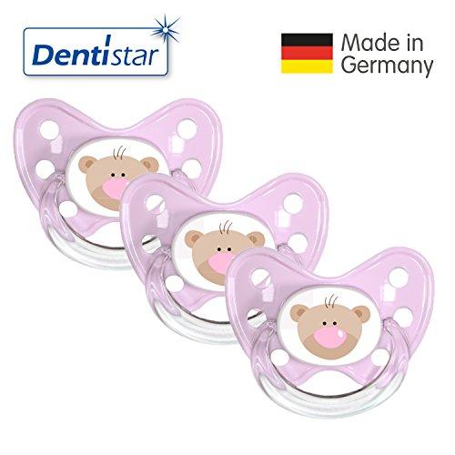 Dentistar® Silikon Schnuller 3er Set - Beruhigungssauger, Nuckel, Nuggi, Größe 3, 14+ Monate - zahnfreundlich & kiefergerecht | Rosa Bär