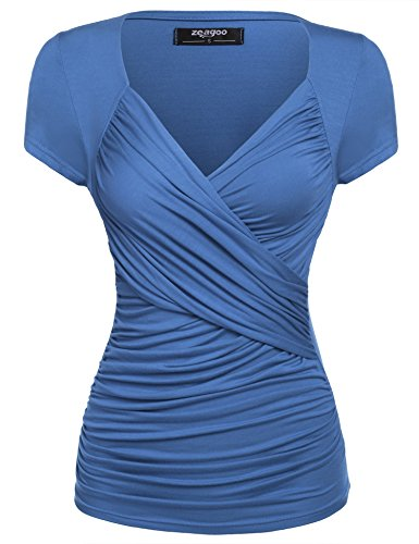 Zeagoo Damen Sexy V-Ausschnitt Kurzarm Blusen Oberteile Shirt mit Rüschen (Kurzarm-wickel-shirt)