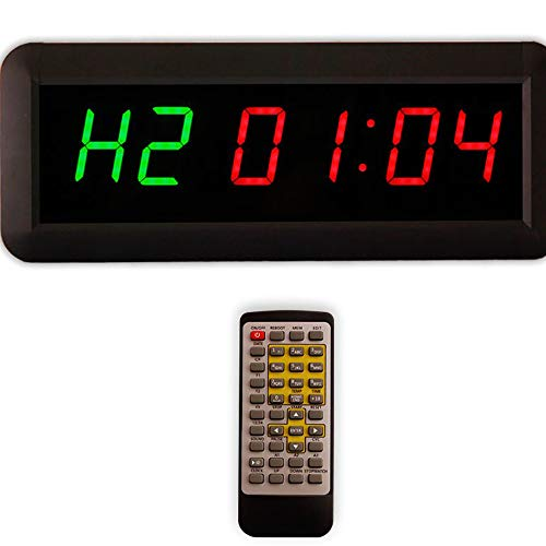 EU Display 3.8cm(1.5 inches) Digits Height Interval Timer Programmable Led Countdown/up Stopwatch for Home Gym