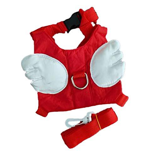 Bontand Baby-Sicherheits-Gehen Harness-Kind-Kleinkind Gehen Anti-Verlorene Gürtel Harness Reins Mit Leine Kids Assistent Strap Angel Wings Travel Rucksack (Rot)