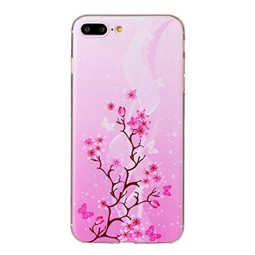 iPhone 7 Plus Hülle, SHUNDA Ultra Dünn Schutzhülle Weiche TPU Silicone Stoßstangen Handyhülle Abdeckung Rückschale Case cover für iPhone 7 Plus (5.5 inch) - Feder Rosa Blume
