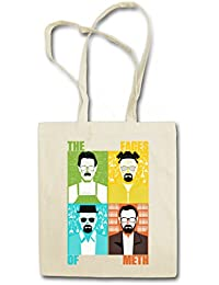 FACES OF METH Hipster Shopping Cotton Bag Cestas Bolsos Bolsas de la compra reutilizables - Breaking Walter Heisenberg White Crystal Cook Blue Bad