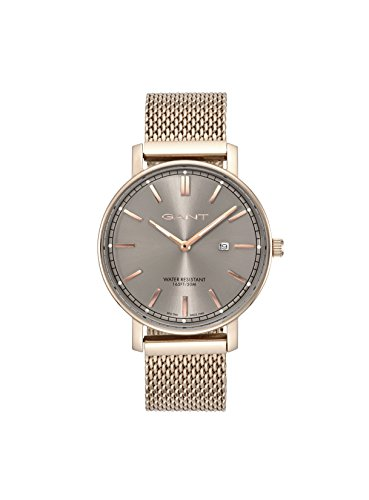 Gant Nashville Men's Quartz Watch with Grey Dial Analogue Display and Rose Gold Stainless Steel Plated Strap Gt006012