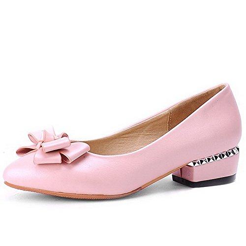 AllhqFashion Femme Pointu à Talon Bas Matière Souple Couleur Unie Tire Chaussures Légeres Rose