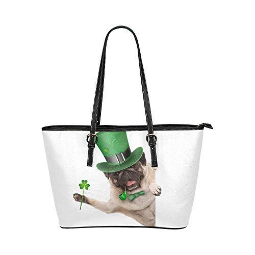 Plsdx Grüner Hut Hund Welpe große Leder tragbare Top Griff Hand Totes Taschen kausalen Handtaschen mit Reißverschluss Schulter Shopping Geldbörse Gepäck Veranstalter für Lady Girls Womens (Hobo Kostüm Zubehör)