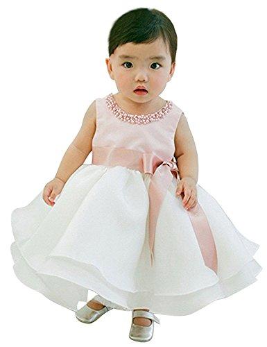 NNJXD Mädchen Sleeveless Knöchel Länge Tutu Prinzessin Hochzeit rosa Kleid Größe(80) 7-12 Monate Rosa & Weiß (Kleider Für Mädchen Knöchel-länge)
