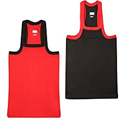 Wyatt Mens Cotton Gym Vest(1010_Red-Black_M)