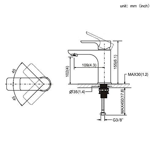 Homelody – Waschtisch-Einhebelmischer, ohne Ablaufgarnitur, Luftsprudler, Keramikkartusche, Schwarz - 4