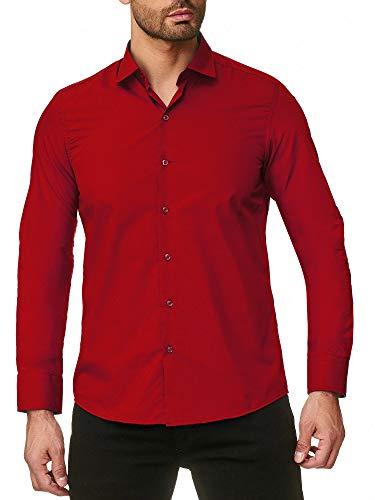 Reslad Herren Hemd Slim Fit Bügelfrei Freizeithemd Herrenhemd Hochzeit Männer Hemden Anzug Uni Langarm Neu RS-7002 Rot M