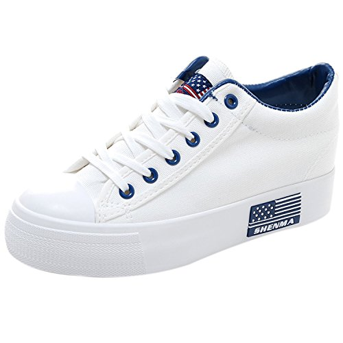 Oasap Women's Low Top Lace-up Height Increasing Canvas Sneakers White