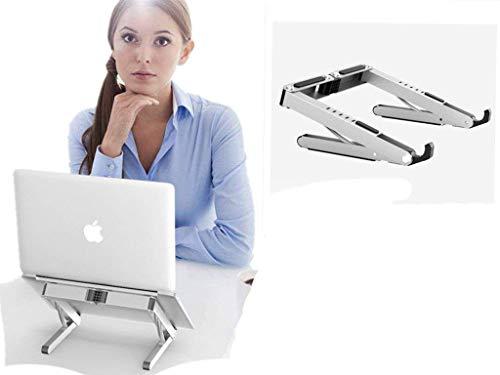 HomeYoo Laptop Ständer, Faltbarer MacBook ständer, Leicht und Klappbar für MacBook/Toshiba / Dell/Acer /iPad/Buch / Telefon/Rechner (Silber)