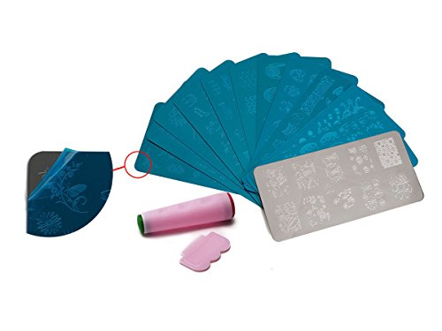 NEW Nail Art 12 Pièces Set 10 x XL pochoirs + Stamper env. 400 motifs Stamping Manucure Kit Ongles Extra Large Accessoires pour ongles Design d'entretien