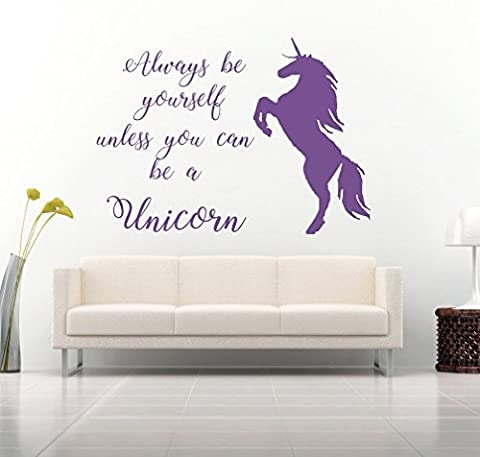 Always be yourself, unless you can be a Unicorn Quote, Vinyl Wall Art Sticker. Mural, Decal. Home, Wall Decor. Inspirational, Motivational