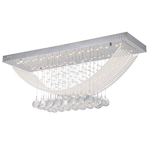 Design LED Glas Kristall Deckenleuchte Deckenlampe für Wohnzimmer 70x60x3 cm Deckenlampe 24 Watt 3000K Warmweiß