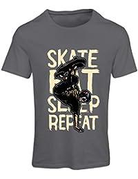 lepni.me Camiseta Mujer Eat-Sleep-Skate-Repeat para el Amante del