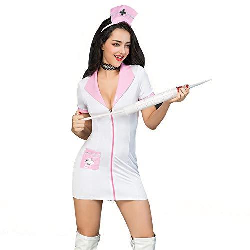 HJG Damen Sexy Dessous Krankenschwester Uniform, Arzt Uniform Outfits Teddy Dessous Set mit Tanga (Und Paare Arzt Für Krankenschwester-kostüme)