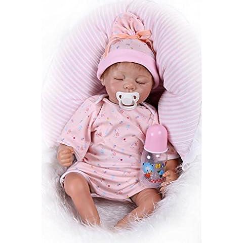 Nicery 22inch Renacido de la muñeca de silicona suave vinilo 55cm magnética Boca realista muchacha del muchacho juguete de color rosa y almohada Ojos Cerrar Reborn Doll