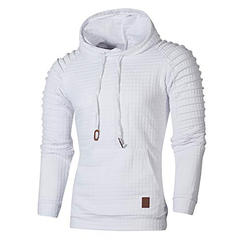 B-COMMERCE Herren Sweatshirt Top Herbst Langarm Plaid Hoodie Mit Kapuze T-Shirt Outwear -