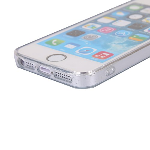 iphone SE/5/5S Handyhülle,iphone SE/5/5S Silikon Hülle,Cozy Hut 3D Handyhülle Muster Case Cover Für iphone SE/5/5S Liquid Crystal Ultra Dünn Crystal Clear Transparent Handyhülle Soft Cover Premium Ant Sonnenaufgang Meer