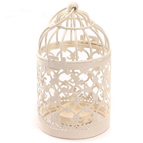 Aikesi Laternen Metall Retro Vogelkäfig Kerze ständer Muster Hohl Dekorative Tabelle Hochzeit, Weiß, 1 Stück (Dekorative Vogelkäfige)