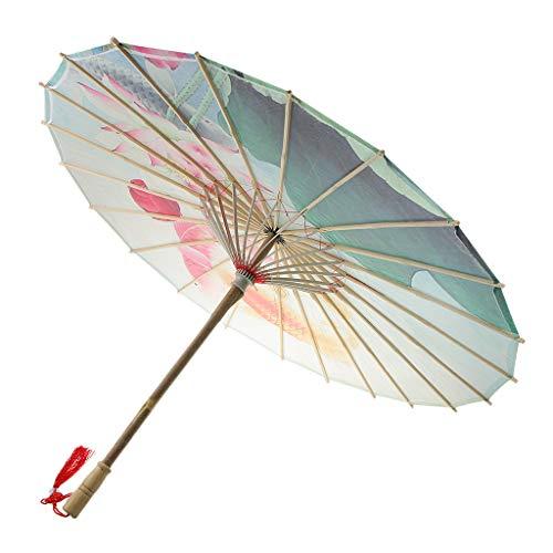 Fenteer Öl Papier Regenschirm Sonnenschirm Tanz Schirm Deko Schirm für Tanz Show und Party - Fisch und Lotus