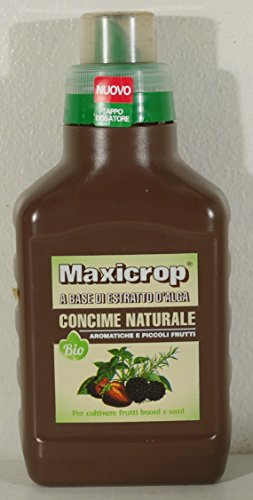 concime naturale maxicrop a base di estratto d'alga per aromatiche e piccoli frutti in confezione da 500 ml