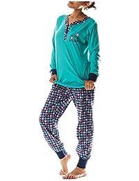 "Baumwolle Jersey Gr.38-40 NEU /""Damen-Pyjama Schlafanzug Langarm DW102"