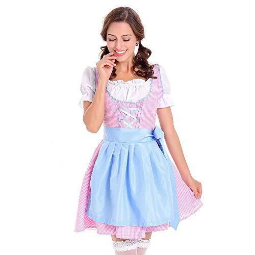 Karneval Damen Kostüm/Fasching/Halloween-Parties,Transwen 3 teiliges Dirndl Kleid der Frauen Traditionelles Bayerisches Oktoberfest Kostüm Karneval (M, Blau)