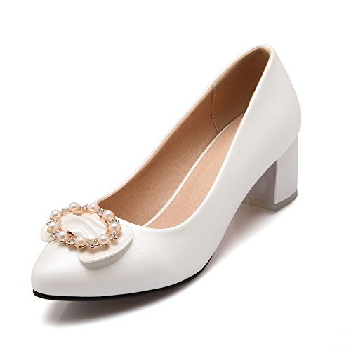 VogueZone009 Femme Tire Fermeture D'Orteil Pointu à Talon Correct Pu Cuir Couleur Unie Chaussures Légeres Blanc