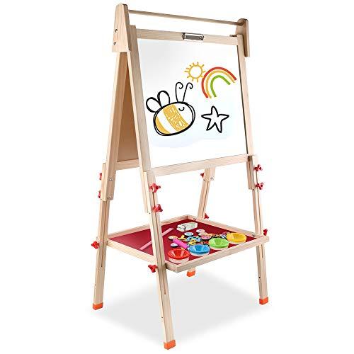Arkmiido Pizarra Infantil con pies Regulables ,Pizarra Madera Infantil,Caballete Pintura Niños, 4...