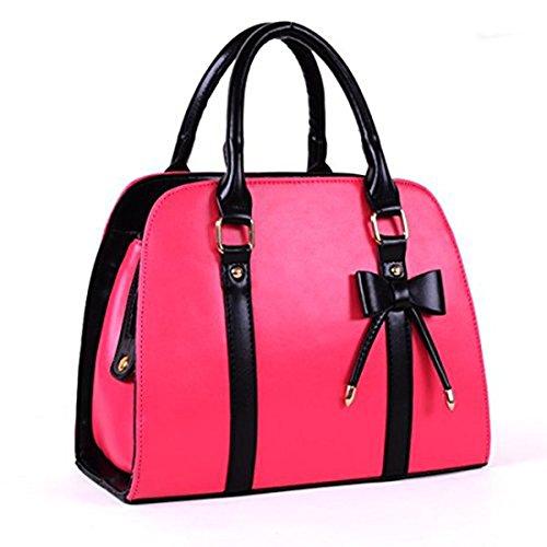 Bolsos bandolera puro clásico - Landove Mujer de Vintage Bolsos PU totes casual bolso de piel con lazo Morado Rosa
