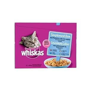 Whiskas - Simplement Bon - Sachet Fraîcheur - Cuit à la Vapeur / aux Poissons - 48 Sachets de 85 g