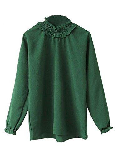 YOSICIL Printemps Automne Col Montant T-Shirt Manches Longues Basique Lâche Tops Chic Hauts Couleur Unie Blouse Gilet Casual Tee-Shirt sous-Vêtement Femme Vert