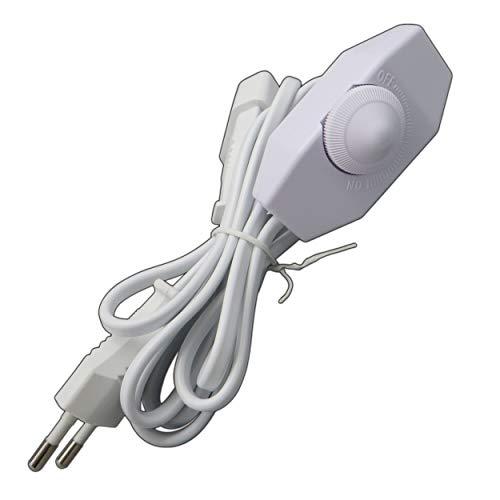 LED Dimmer (Schnur-Drehdimmer) 1-40 Watt stufenlos dimmbar/dimmen für dimmbare LED Leuchtmittel - Dimmschalter Schnur-Zwischendimmer Geräuschlos LED-Dimmer (weiß)