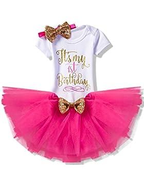 NNJXD Mädchen Neugeborene Es ist mein 1. Geburtstag 3 Stück / 4 Stück Outfits Strampler + Rock + Stirnband (+...