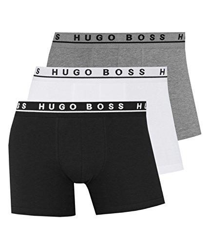 Hugo Boss Baumwoll-Stretch Radfahrer Torso-Boxershort/Trunk [3er-Pack] Grau/Weiß/Schwarz