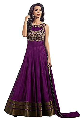 Rv Shoppers Shop Women's Purpale Soft Net Embroidery Anarkali Unstitched Free Size Salwar Suit Dress Material (Women's Clothing 00004)  available at amazon for Rs.399