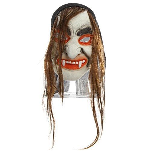 Kostüm Ein Vampir Für Haare - Preis am Stiel Halloween Maske Vampir mit Haaren | Kostüm für Erwachsene | Karneval | Fasching | Horror | Grusel | Maskenball | Halloween-Maske