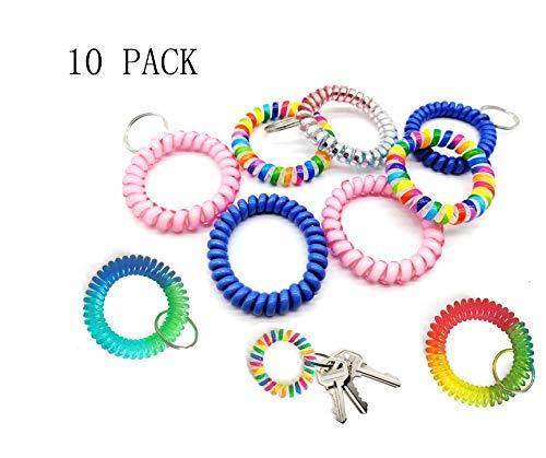 Sohapy 10 Stück Handgelenk Spule Schlüsselring Kette Spirale Handgelenk Band bunt Stretch Key Chain für Gym Pool ID Badge