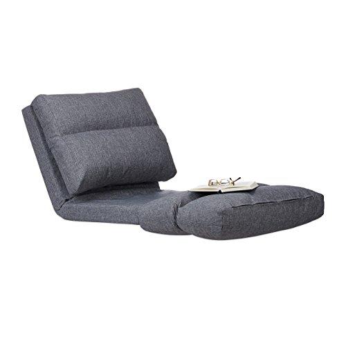 Relaxdays Relaxliege Sessel, Faltmatratze, Verstellbare Lehne, Polster, für Drinnen, Bodensitzkissen, 194 cm Lang, Grau